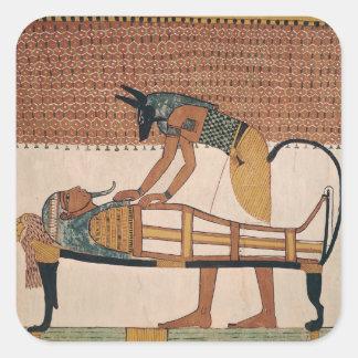 AnubisはSennedjemのミイラに出席します スクエアシール