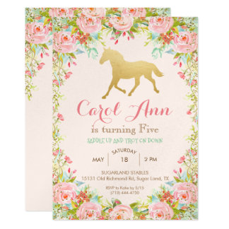 ANY AGE/EVENT - Horse Floral Invitation カード