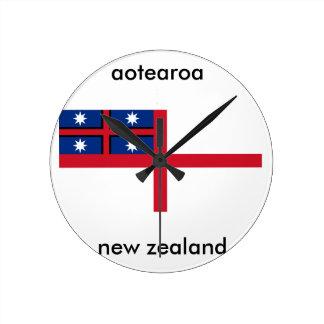 aotearoaのニュージーランドの旗 ラウンド壁時計