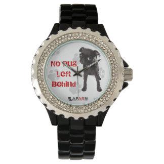 """APARN黒い""""パグによって置き去りにされる""""ラインストーンの腕時計無し 腕時計"""