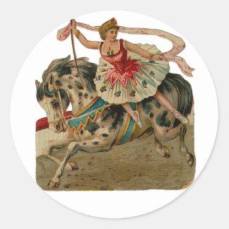 Appaloosaの馬のサーカスのバレリーナのステッカー ラウンドシール