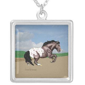 Appaloosaの馬の回転 シルバープレートネックレス