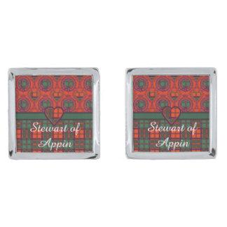 Appinの一族の格子縞のスコットランド人のタータンチェックのステュワート シルバー カフスボタン