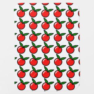 Appleのチェリーレッドのフルーツの漫画 ベビー ブランケット