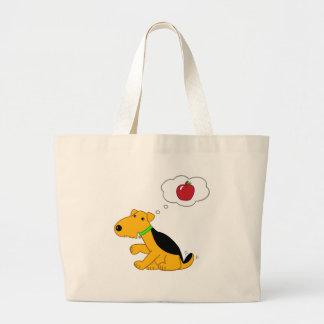 Appleの漫画のAiredaleテリア犬の考えること ラージトートバッグ