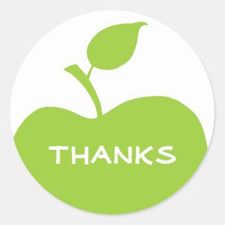 Appleの緑および白い感謝 ラウンドシール