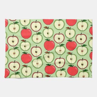 Appleの緑および赤い半分のプリント-横のタオル キッチンタオル