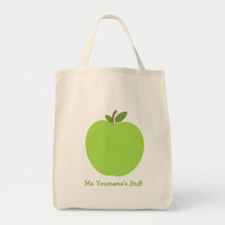 Appleの緑の名前入りな先生 トートバッグ
