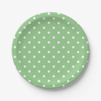 Appleの緑の水玉模様の紙皿 ペーパープレート