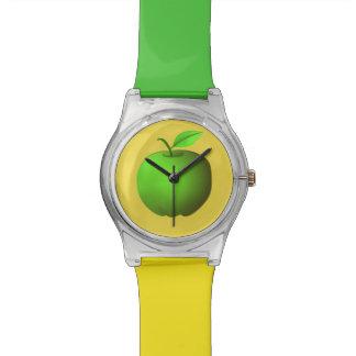 Appleの緑の黄色くシンプルでミニマルでクールなフルーツ 腕時計