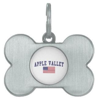 Appleの谷MN米国の旗 ペットネームタグ