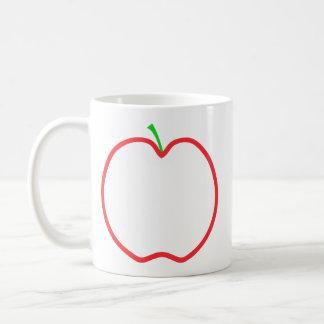Appleの赤い輪郭。 白い中心、緑の茎 コーヒーマグカップ