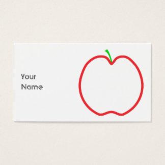 Appleの赤い輪郭。 白い中心、緑の茎 名刺