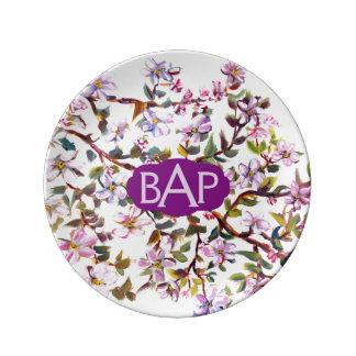 Appleの陽気な花はアクリルの絵画咲きます 磁器プレート