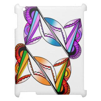 AppleのiPadの光沢のある白い箱のサイケデリックなデザイン iPad カバー