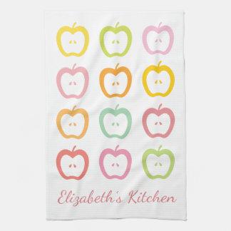 Appleは名前入りな夏の台所タオルをスライスします キッチンタオル