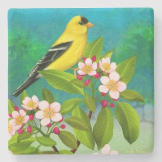 AppleコースターのアメリカのGoldfinchの鳥は活気付きます ストーンコースター