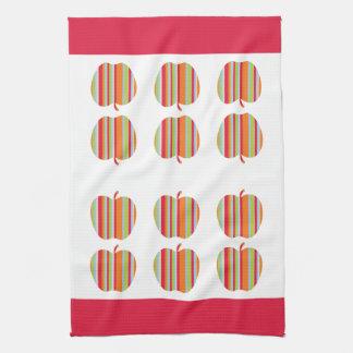 Appleストライプのなパターンおよび赤いボーダー台所タオル キッチンタオル