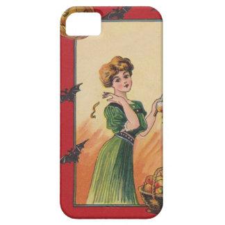 Appleハロウィーンのカボチャのちょうちんのこうもりの皮をむいている女性 iPhone SE/5/5s ケース