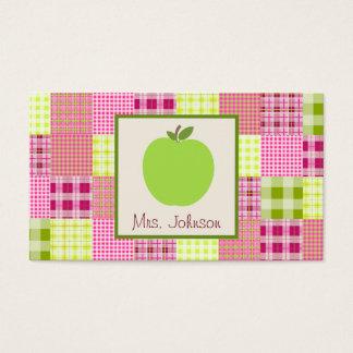 Apple及びマドラスの刺激を受けたな格子縞の緑の先生 名刺