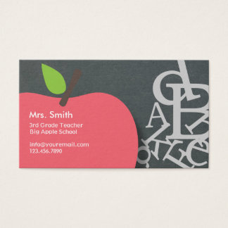 Apple学校教師及び手紙の黒板 名刺