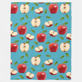 Apple赤いパターン フリースブランケット