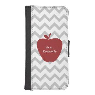 Apple赤い灰色のシェブロンの先生 iPhoneSE/5/5sウォレットケース