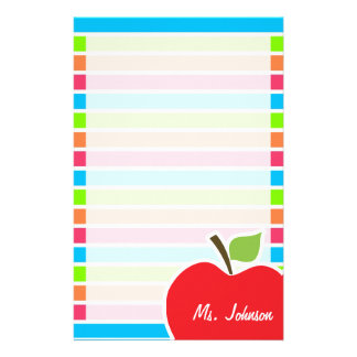 Apple; ネオンは縞で飾ります; ピンクの青緑 便箋