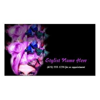 Appt紫色の毛の蝶女性。 2つの名刺