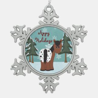 Appyのかわいい休日の総括的なAppaloosaの馬 スノーフレークピューターオーナメント