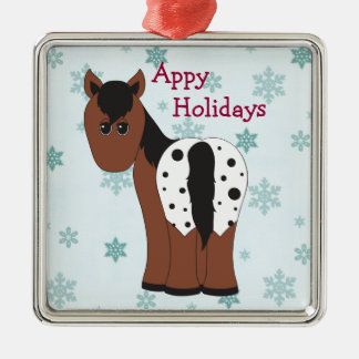 Appyのかわいく幸せな休日の総括的なAppaloosaの馬 メタルオーナメント