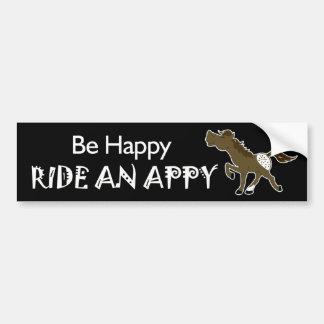 AppyのAppaloosaの(黒い)ステッカー幸せな乗車があって下さい バンパーステッカー