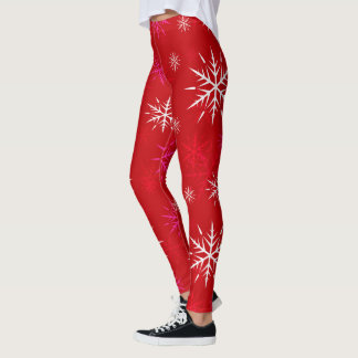 Aprèsスキー、赤い雪片のデザインのレギンス レギンス