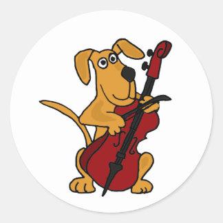 AQ-チェロを演奏しているブラウンの小犬 ラウンドシール