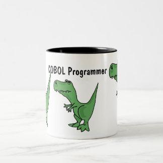 AQ- COBOLプログラマー恐竜のマグ ツートーンマグカップ