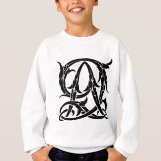 AQ-QAの黒いモノグラム スウェットシャツ