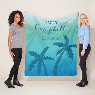 Aqua Blue Palm Tree Tropical Custom Family フリースブランケット