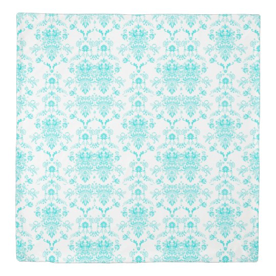 Aqua Damask on Black Chic Design 掛け布団カバー