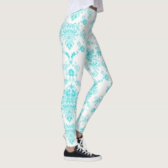 Aqua Damask on White Chic Design レギンス