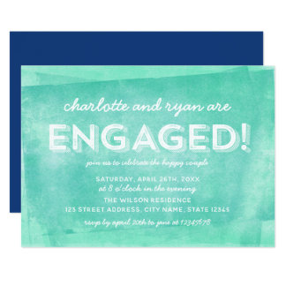 Aqua Turquoise Rolled Ink  Engagement Party カード