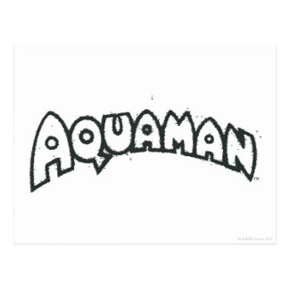 Aquamanのグランジで黒いロゴ2 ポストカード