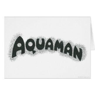 Aquamanのグランジで黒いロゴ グリーティングカード