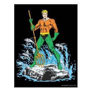Aquamanは干し草用フォークによって立ちます はがき