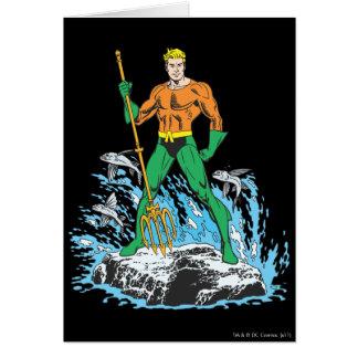 Aquamanは干し草用フォークによって立ちます グリーティングカード