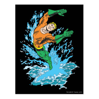 Aquamanは波で跳躍します 葉書き