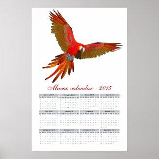 Araのマカオのオウムのカレンダー2015年 ポスター