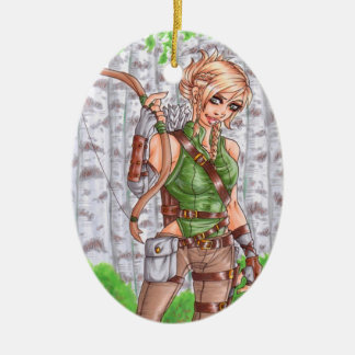 Archer Ornament女性 陶器製卵型オーナメント