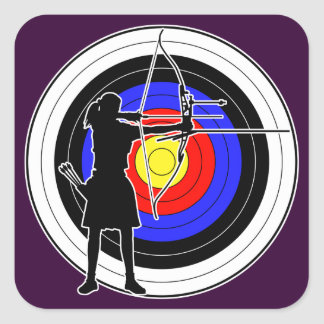 Archery & target 02 正方形シール・ステッカー