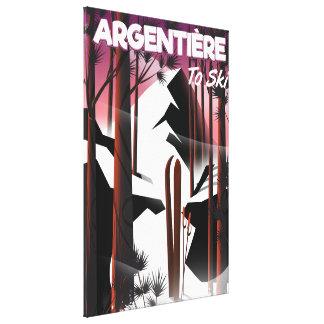 Argentièreのフランスのスキー旅行ポスター キャンバスプリント