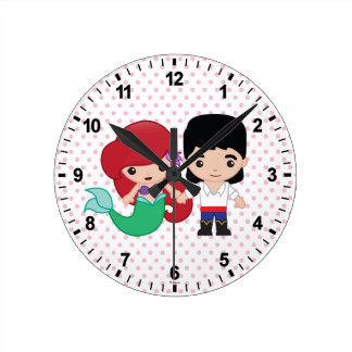 Arielおよび王子エリックEmoji ラウンド壁時計